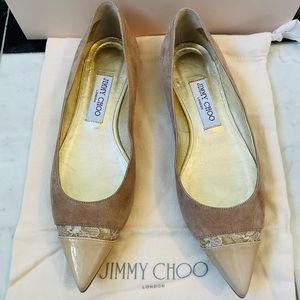 Jimmy Choo Ginny Suede and Lace Flats
